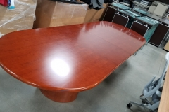 12' Racetrack Cherry Veneer Table with round bases