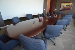 20' dark cherry board-room table credenza, chairs - 2 available